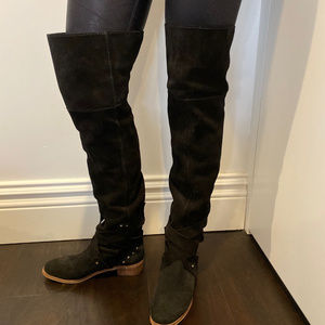 SEE BY CHLOE BLACK SUEDE OVER THE KNEE FLAT BOOTS